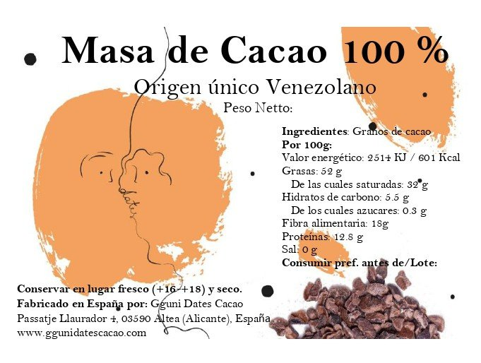 Cacao mass 100%. Not alkalized