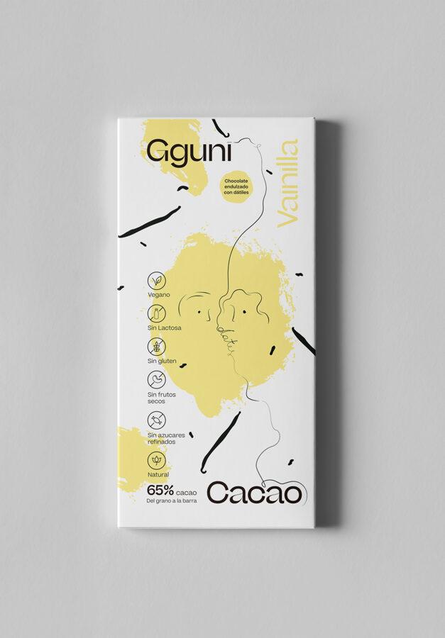 65% Chocolate con Vainilla, endulzado con dátiles. Vegano. TEXTURA SUAVE.