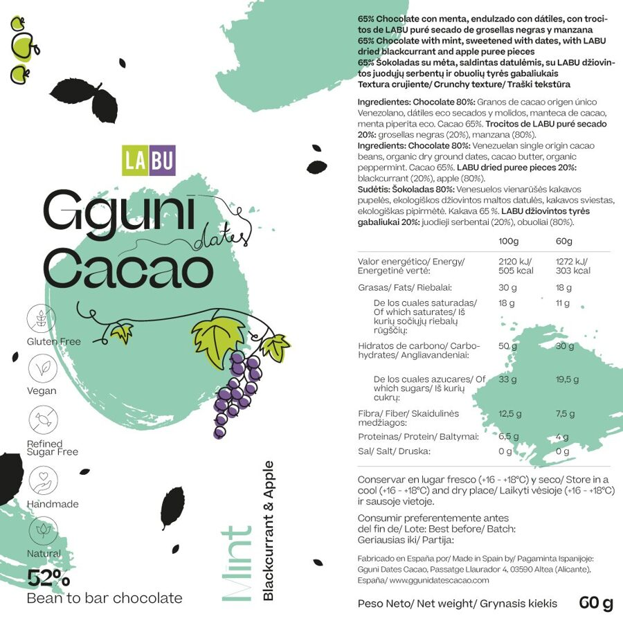 NEW. 52% Chocolate with Mint, with LABU dried Blackcurrant and Apple puree pieces. Sweetened with dates. Vegan friendly. SOFT TEXTURE