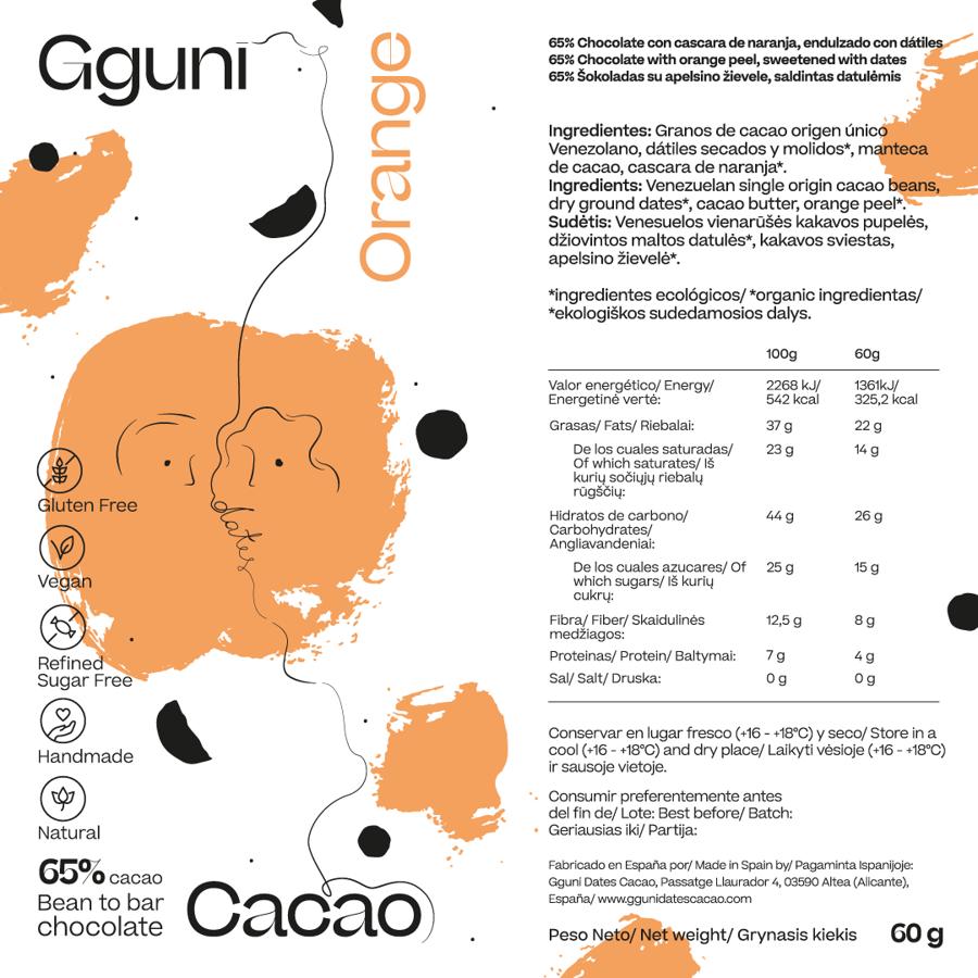 65% Chocolate con Naranja, endulzado con dátiles. Vegano. TEXTURA SUAVE..