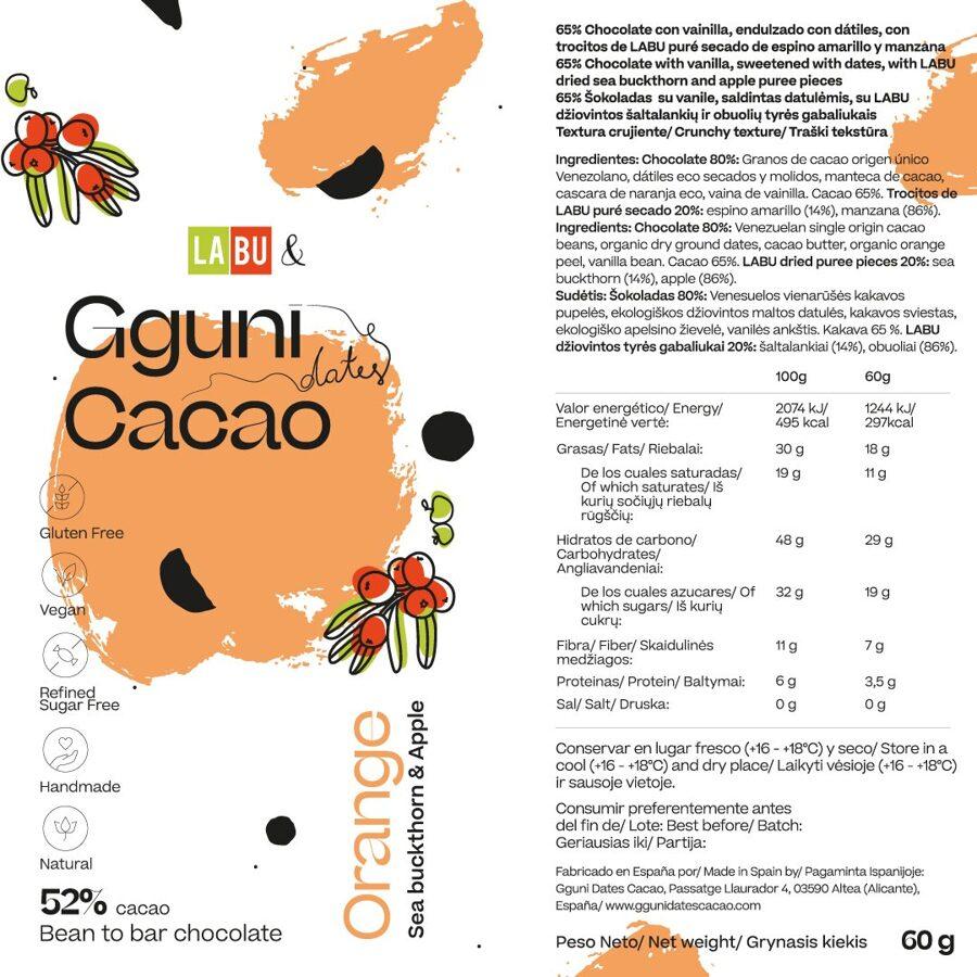 NAUJIENA. 52% Šokoladas su Apelsino žievele su LABU džiovintos Šaltalankių ir Obuolių tyrės gabaliukais. Saldintas datulėmis.Tinka veganams. ŠVELNI TEKSTŪRA