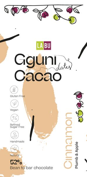 NEW. 52% Chocolate with Cinnamon with LABU dried Plum and Apple puree peaces. Sweetened with dates. SOFT TEXTURE.