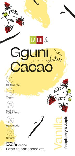NEW. 52% Chocolate with Vanilla, with LABU dried Raspberry and Apple puree pieces. Sweetened with dates. Vegan friendly. SOFT TEXTURE