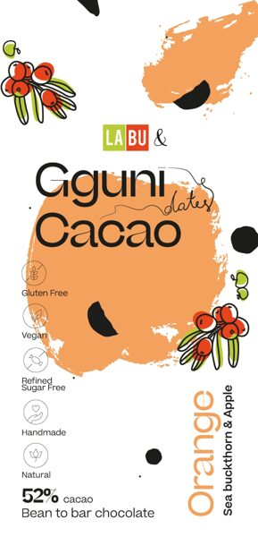 NEW. 52% Chocolate with Orange, with LABU dried Sea Buckthorn and Apple puree pieces. Sweetened with dates. Vegan friendly. SOFT TEXTURE